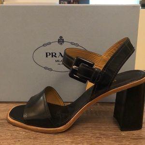 Prada black block heel sandal